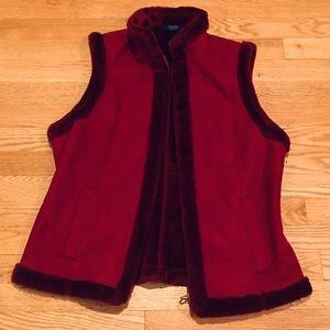 Chaps Burgundy Faux Fur Vest Size Large